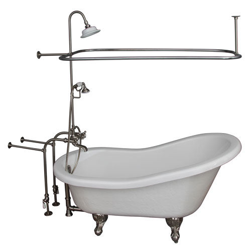 Barclay Products Brushed Nickel Tub Kit 67-Inch Acrylic Slipper, Shower Unit, Supplies, and Drain