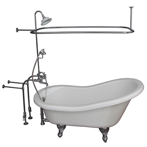 Polished Chrome Tub Kit 67-Inch Acrylic Slipper, Shower Unit, Supplies, and Drain