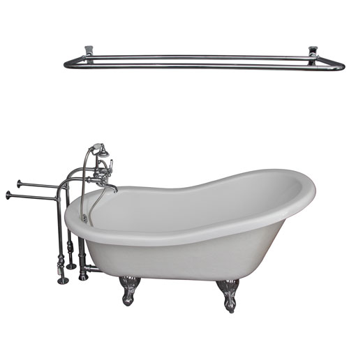 Barclay Products Polished Chrome Tub Kit 67-Inch Acrylic Slipper, Tub Filler, Shower Rod, Supplies, and Drain