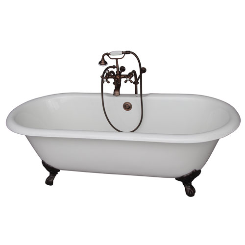 Barclay Products Oil Rubbed Bronze Tub Kit 67-Inch Cast Iron Double Roll Top, Filler, Supplies, and Drain