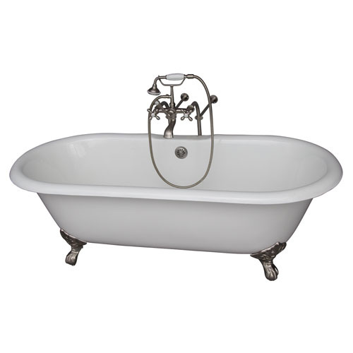 Barclay Products Brushed Nickel Tub Kit 67-Inch Cast Iron Double Roll Top, Filler, Supplies, and Drain