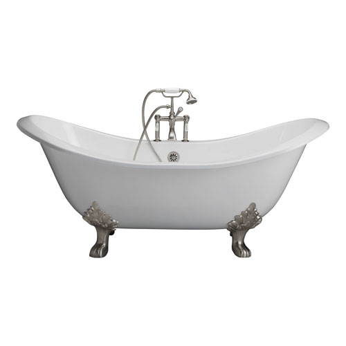 Barclay Products Brushed Nickel Tub Kit 71-Inch Cast Iron Double SlipperFiller, Supplies, and Drain