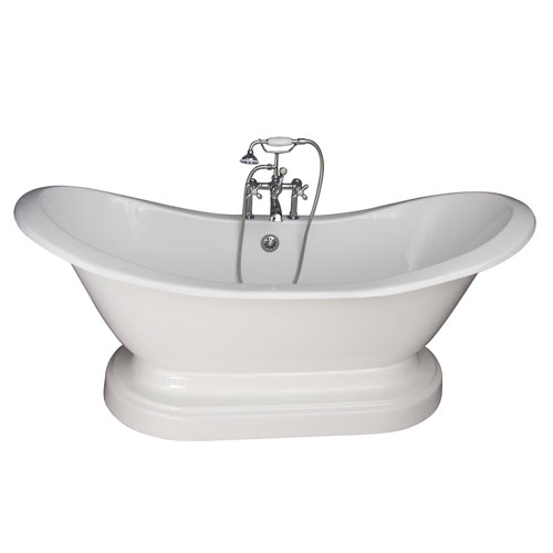 Barclay Products Polished Chrome Tub Kit 71-Inch Cast Iron Double Slipper, Filler, Supplies, and Drain