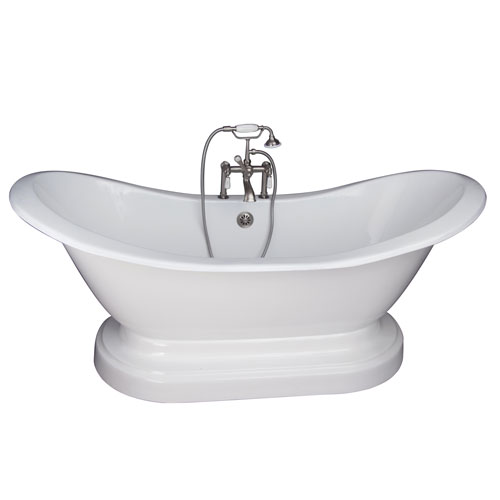 Brushed Nickel Tub Kit 71-Inch Cast Iron Double Slipper, Filler, Supplies, and Drain
