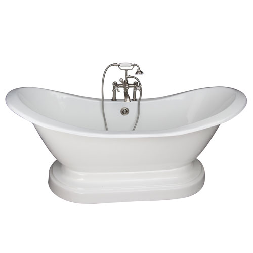 Barclay Products Brushed Nickel Tub Kit 71-Inch Cast Iron Double Slipper, Filler, Supplies, and Drain