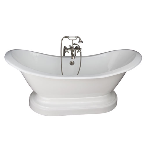 Brushed Nickel Tub Kit 71-Inch Cast Iron Double Slipper, Filler, Supples, and Drain