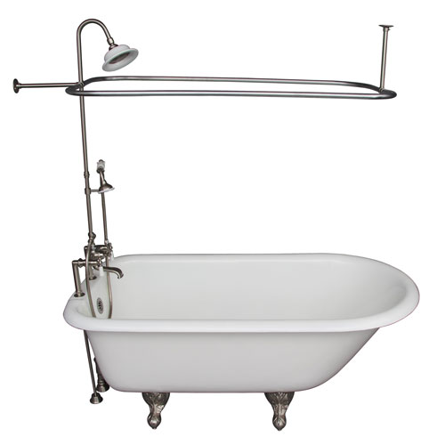 Barclay Products Brushed Nickel Tub Kit 60-Inch Cast Iron Roll Top, Shower Unit, Supplies, and Drain