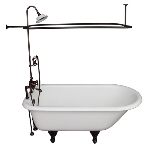 Barclay Products Oil Rubbed Bronze Tub Kit 67-Inch Cast Iron Roll Top, Shower Unit, Supplies, and Drain