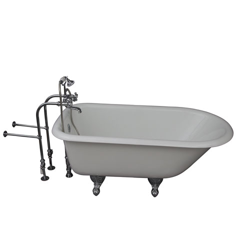 Barclay Products Polished Chrome Tub Kit 54-Inch Cast Iron Roll Top, Tub Filler, Supplies, and Drain