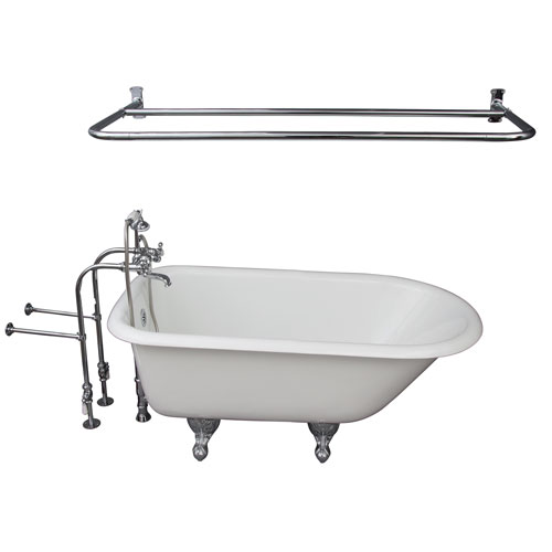 Barclay Products Polished Chrome Tub Kit 54-Inch Cast Iron Roll Top, Shower Rod, Filler, Supplies, and Drain