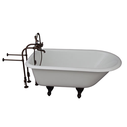 Barclay Products Oil Rubbed Bronze Tub Kit 54-Inch Cast Iron Roll Top, Filler, Supplies, and Drain