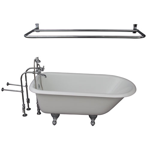 Barclay Products Polished Chrome Tub Kit 60-Inch Cast Iron Roll Top, Shower Rod, Filler, Supplies, and Drain