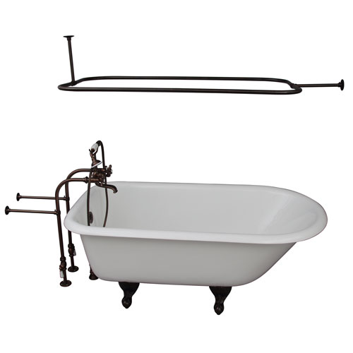 Barclay Products Oil Rubbed Bronze Tub Kit 60-Inch Cast Iron Roll Top, Shower Rod, Filler, Supplies, and Drain