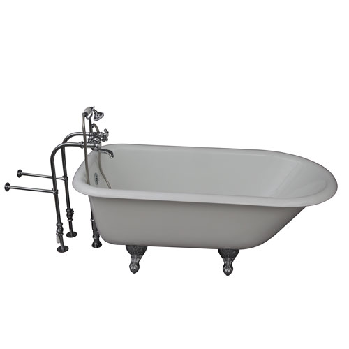 Barclay Products Polished Chrome Tub Kit 67-Inch Cast Iron Roll Top, Tub Filler, Supplies, and Drain
