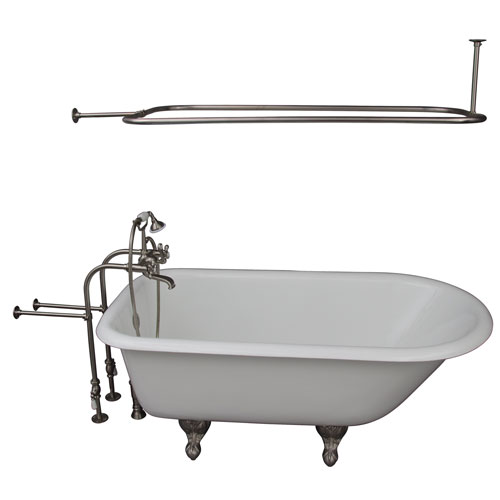 Barclay Products Brushed Nickel Tub Kit 67-Inch Cast Iron Roll Top, Shower Rod, Filler, Supplies, and Drain