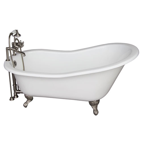 Barclay Products Brushed Nickel Tub Kit 67-Inch Cast Iron Slipper, Tub Filler, Supplies, and Drain