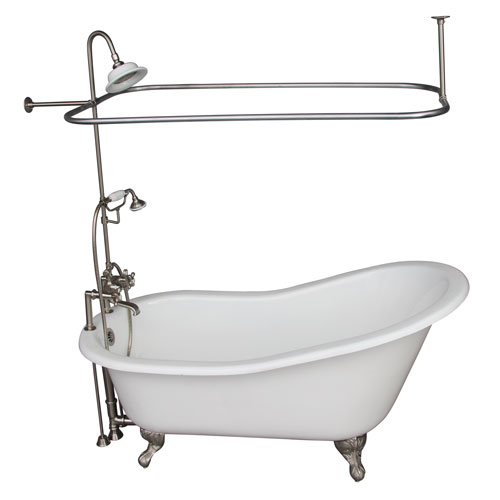 Barclay Products Brushed Nickel Tub Kit 67-Inch Cast Iron Slipper, Shower Unit, Supplies, and Drain