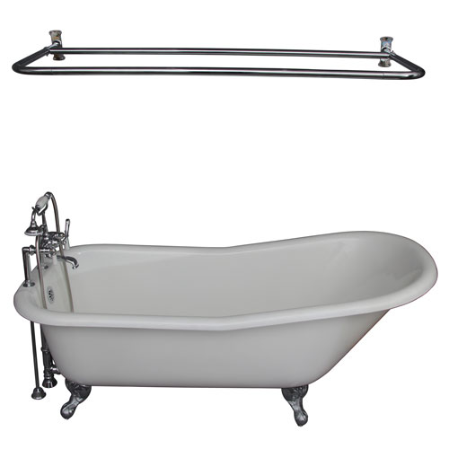 Barclay Products Polished Chrome Tub Kit 67-Inch Cast Iron Slipper, Shower Rod, Filler, Supplies, and Drain