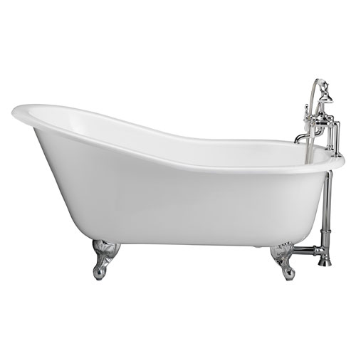 Barclay Products Polished Chrome Tub Kit 60-Inch Cast Iron Slipper, Tub Filler, Supplies, and Drain