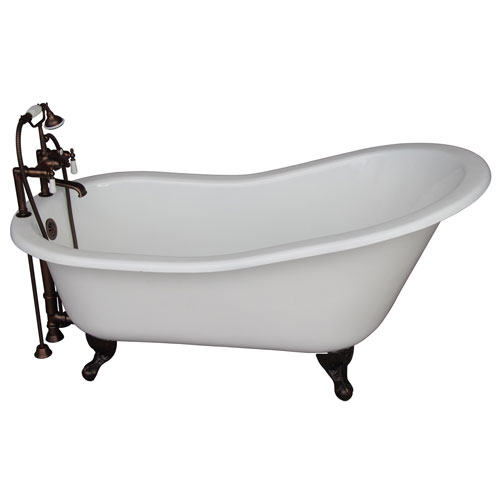 Barclay Products Oil Rubbed Bronze Tub Kit 60-Inch Cast Iron Slipper, Tub Filler, Supplies, and Drain