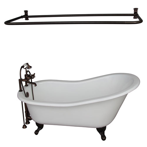 Barclay Products Oil Rubbed Bronze Tub Kit 60-Inch Cast Iron Slipper, Shower Rod, Filler, Supplies, and Drain