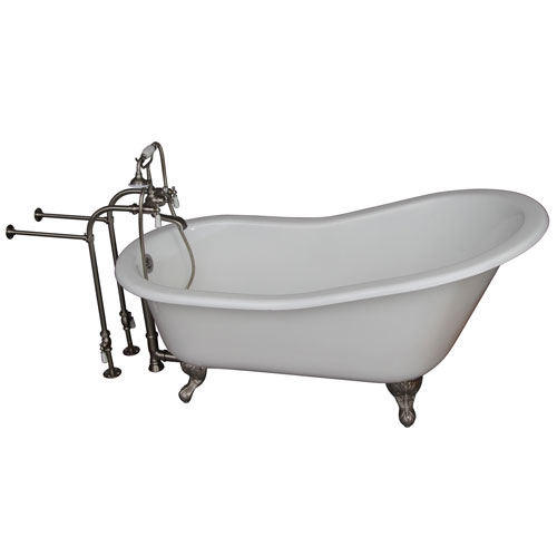 Barclay Products Brushed Nickel Tub Kit 60-Inch Cast Iron Slipper, Tub Filler, Supplies, and Drain
