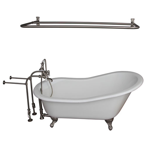 Barclay Products Brushed Nickel Tub Kit 60-Inch Cast Iron Slipper, Shower Rod, Filler, Supplies, and Drain