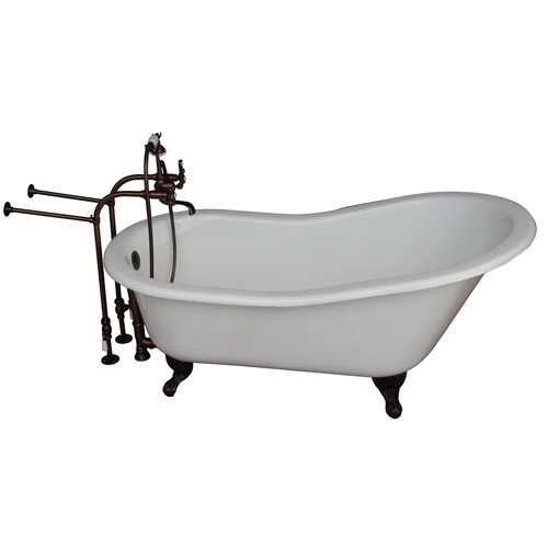 Barclay Products Oil Rubbed Bronze Tub Kit 67-Inch Cast Iron Slipper, Tub Filler, Supplies, and Drain