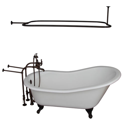 Barclay Products Oil Rubbed Bronze Tub Kit 67-Inch Cast Iron Slipper, Shower Rod, Filler, Supplies, and Drain