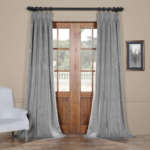 Signature Silver Gray 25 x 96-Inch Signature French Pleated Blackout Velvet Curtain