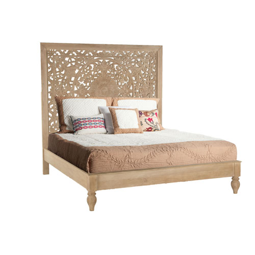 Whitewashed Mango Wood King Bed