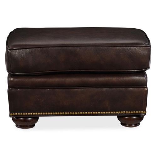 hooker furniture montgomery dark brown leather ottoman ss185 ot 089 bellacor. Black Bedroom Furniture Sets. Home Design Ideas