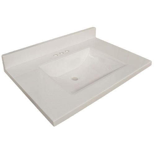 Wave Bowl Premium Granite Vanity Top with 4-Inch Backsplash, Solid White