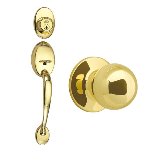 Design House Coventry Polished Brass Two-Way Latch Entry Door Handle Set with Knob