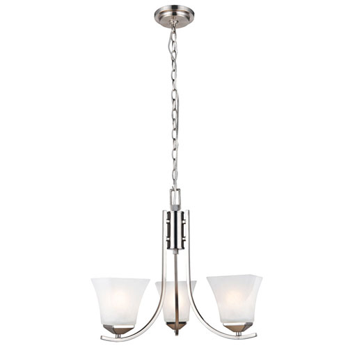 Torino Three-Light Satin Nickel Chandelier