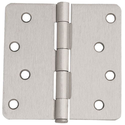 Satin Nickel Eight-Hole 1/4-Inch Radius Door Hinge, 4-Inch by 4-Inch