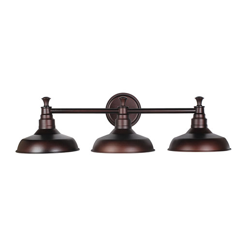 Kimball Textured Bronze 3-Light Bathroom Vanity Light