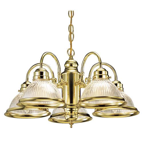 Millbridge Polished Brass Five-Light Downlight Chandelier