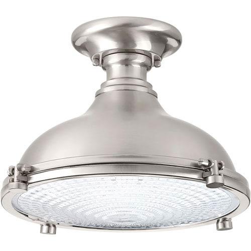 P350033-009-30: Fresnel Lens Brushed Nickel Energy Star One-Light LED Semi Flush Mount