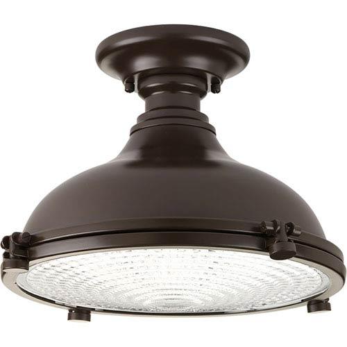 Progress Lighting P350033-108-30: Fresnel Lens Oil Rubbed Bronze Energy Star One-Light LED Semi Flush Mount