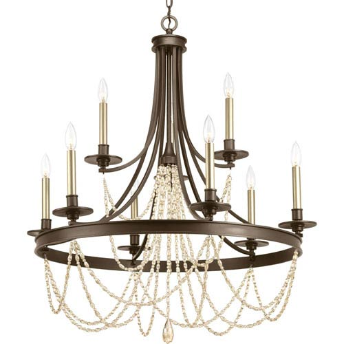 P400006-020: Allaire Antique Bronze Nine-Light Chandelier