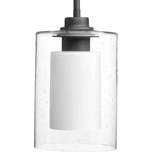 Progress Lighting P500018-143: Double Glass Graphite One-Light Mini Pendant