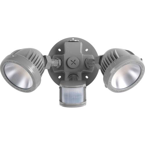 P6341-8230K: Security Metallic Gray Two-Light LED Outdoor Flood Light