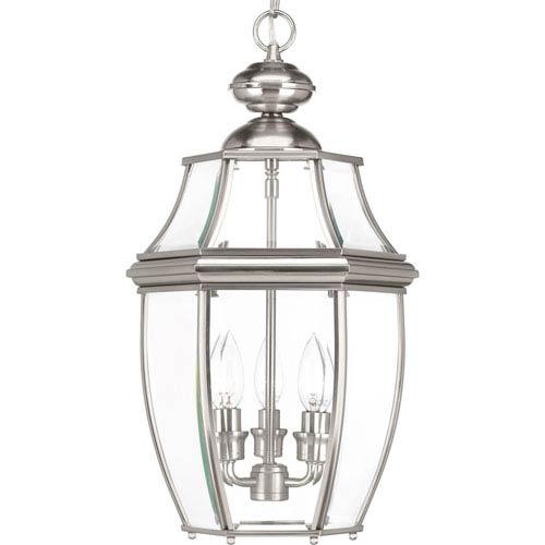 P6533-09: New Haven Brushed Nickel Three-Light Outdoor Hanging Lantern