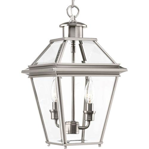 Progress Lighting P6537-09: Burlington Brushed Nickel Two-Light Outdoor Hanging Lantern