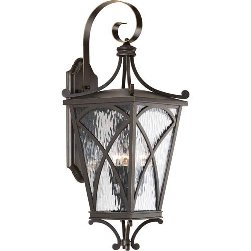 P6639-108: Cadence Oil Rubbed Bronze Three-Light Outdoor Wall Mount