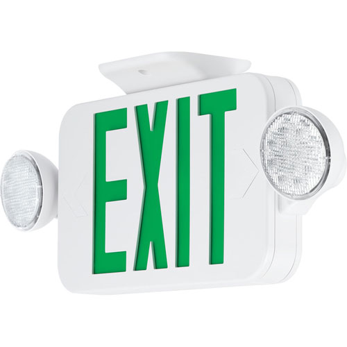PECUE-UG-30: White Two-Light LED Exit Sign