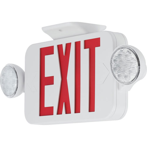 PECUE-UR-30: White Two-Light LED Exit Sign