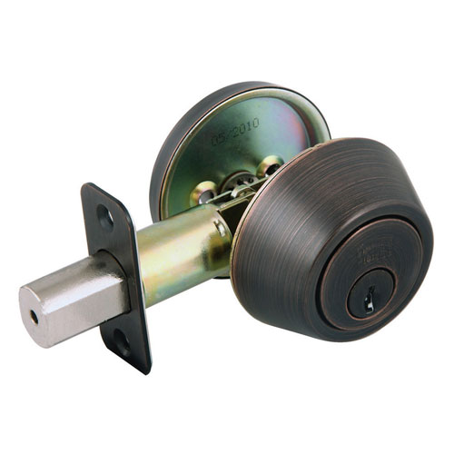 Design House Single Cylinder Brushed Bronze Two-Way Latch Deadbolt