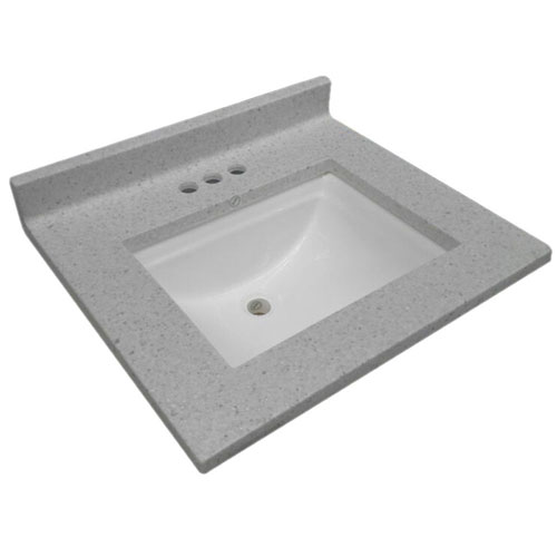 Cultured Marble Single Wave Bowl Vanity Top 31 x 22, Frost